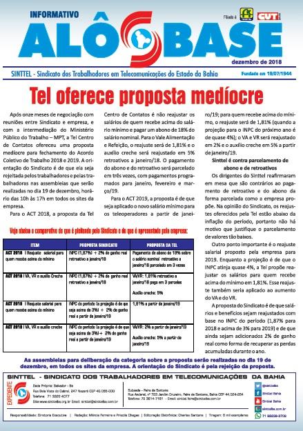 Tel oferece proposta medíocre. A orientação do Sinttel é pela rejeição da proposta nas assembleias de AMANHÃ (19)