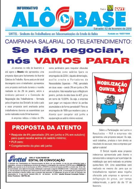 Campanha Salarial do Teleatendimento 2016: AMANHÃ (4) é dia de mobilização!