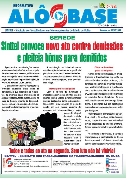 Sinttel convoca novo ato contra demissões e pleiteia bônus para demitidos