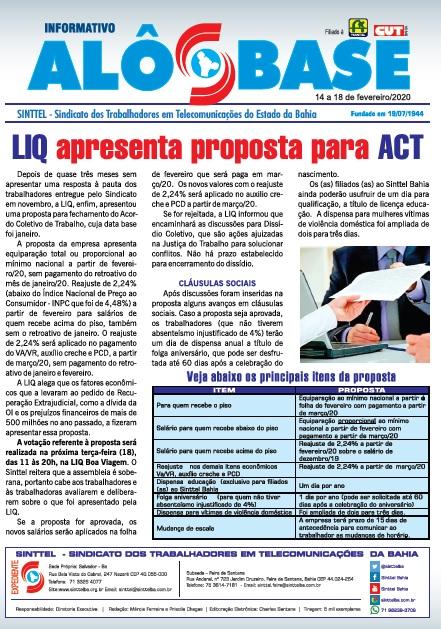 LIQ apresenta proposta para ACT:  Assembleias serão realizadas amanhã (18)