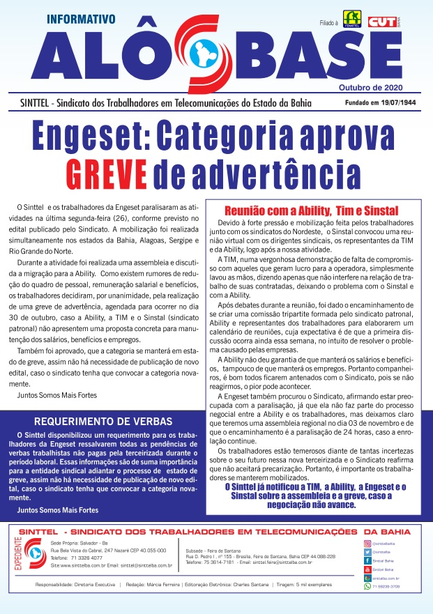 Engeset: Categoria aprova greve de advertência