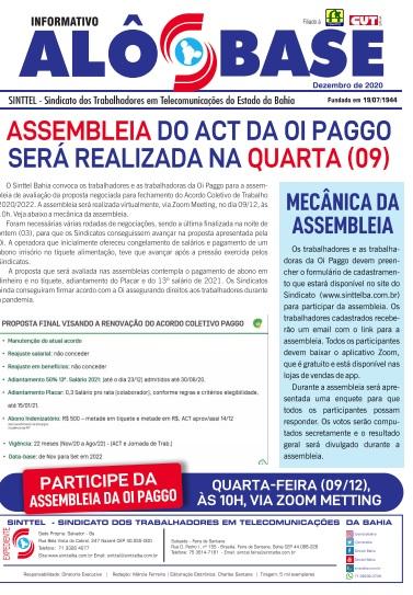 Assembleia do ACT da Oi Paggo será realizada na quarta (09)