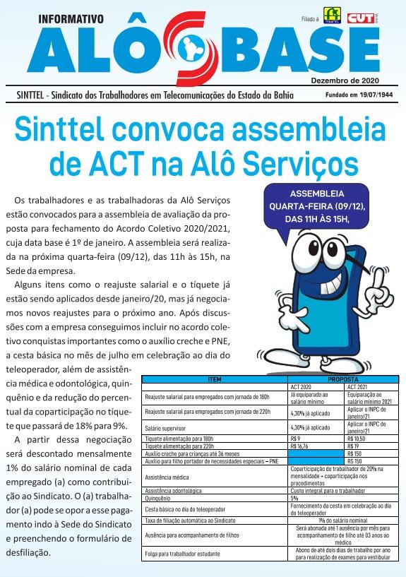 Sinttel convoca assembleia de ACT na Alô Serviços
