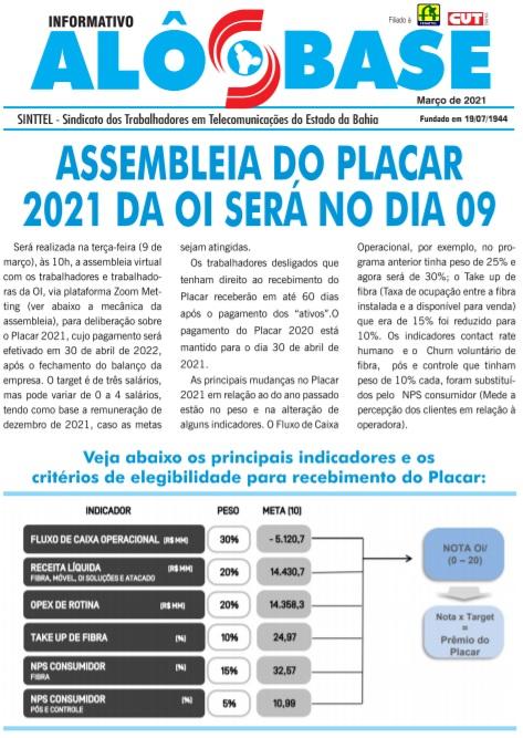 Assembleia do Placar 2021 da OI será no dia 09