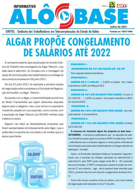 Algar propõe congelamento de salários até 2022