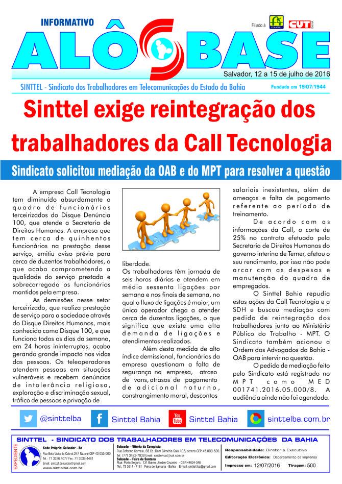 Sinttel exige a reintegração dos trabalhadores da Call Tecnologia