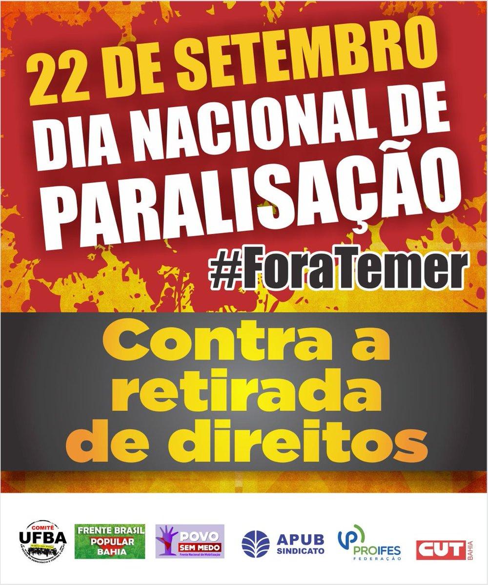 Paralisação Nacional - Centrais sindicais e movimentos irão parar nesta quinta-feira (22/09)
