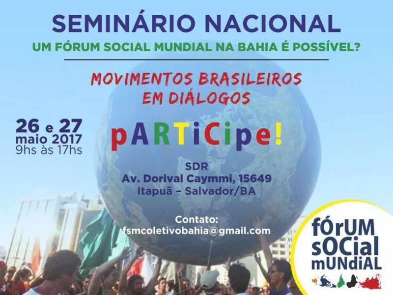 Salvador sedia seminário social mundial na Bahia