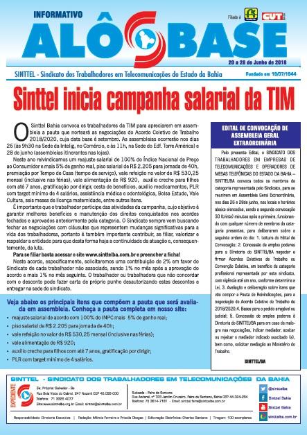 Sinttel inicia campanha salarial da TIM