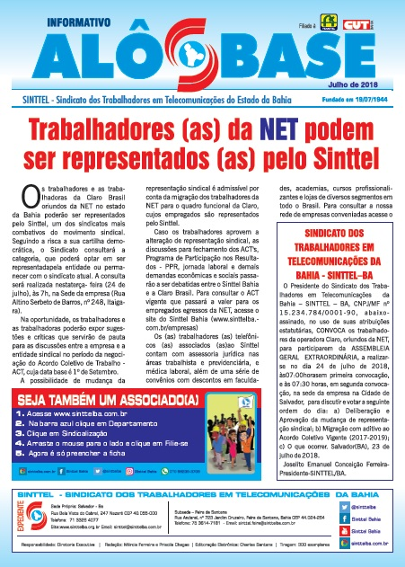 Trabalhadores (as) da NET podem ser representados (as) pelo Sinttel