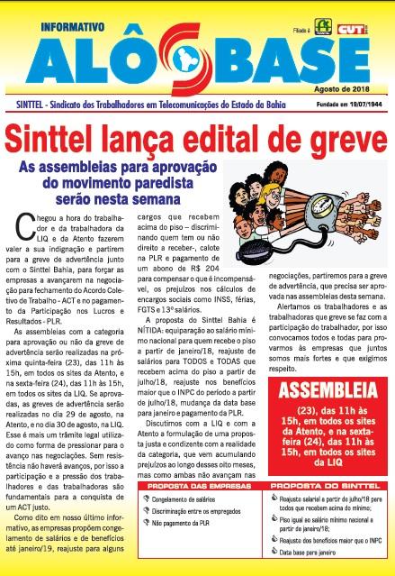 Sinttel lança edital de greve na LIQ  e na Atento